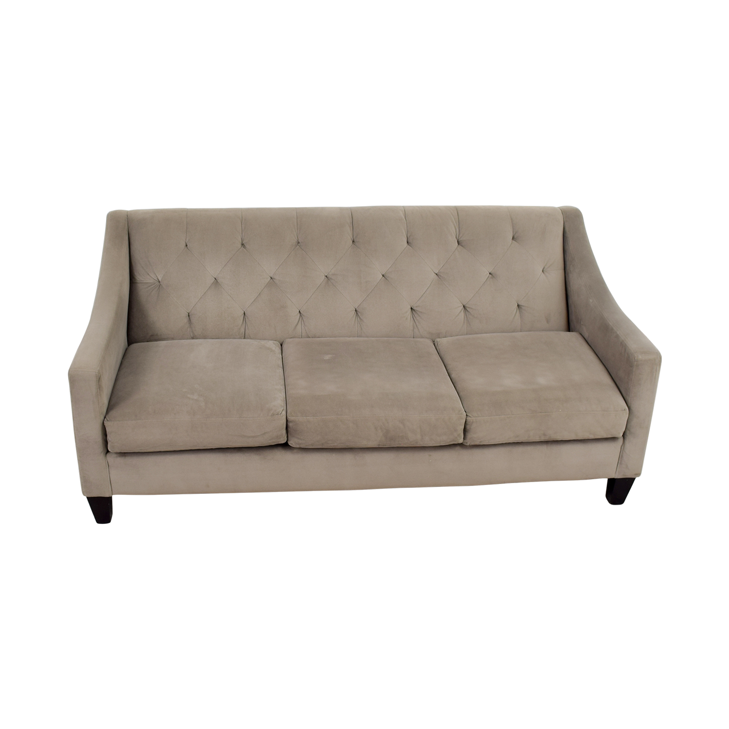 shop Macys Gray Microfiber Tufted Three-Cushion Couch Macys