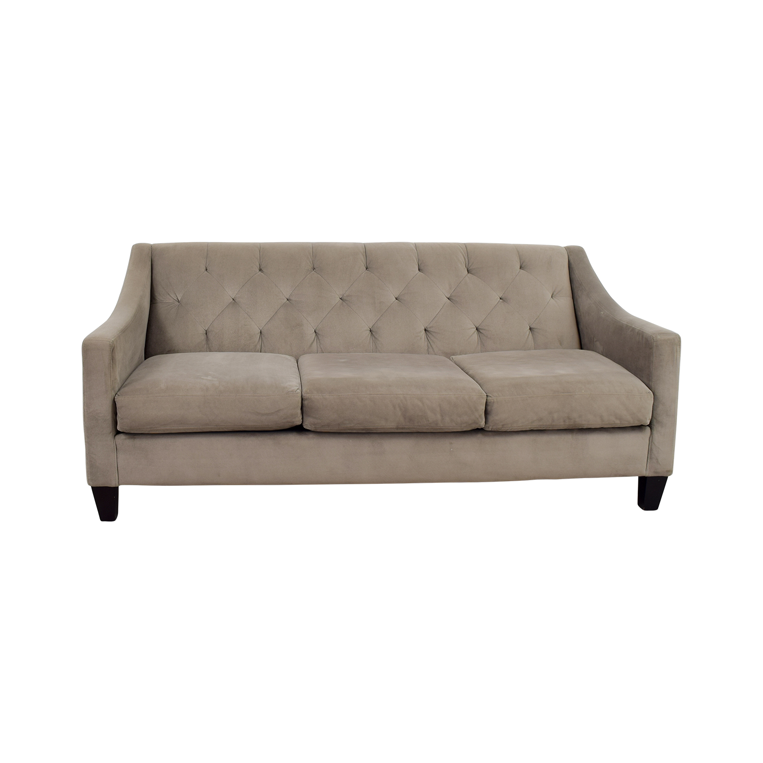 Macys Gray Microfiber Tufted Three-Cushion Couch / Sofas