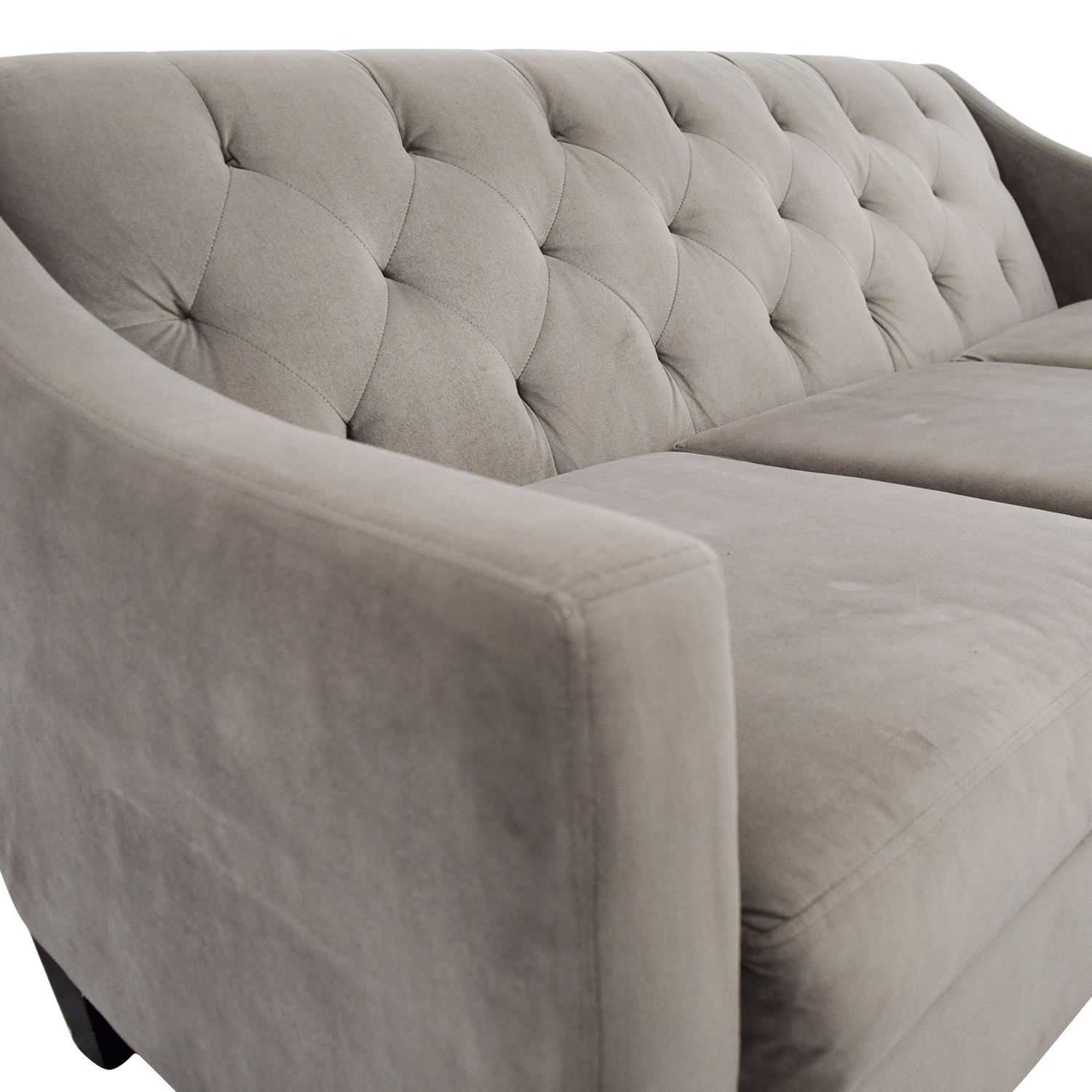 Macys Macys Gray Microfiber Tufted Three-Cushion Couch dimensions