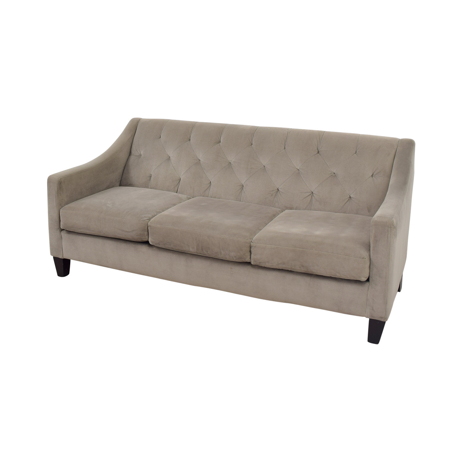 Macys Macys Gray Microfiber Tufted Three-Cushion Couch grey