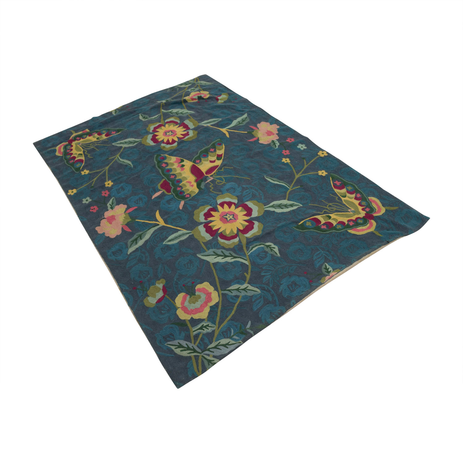 buy Anthropologie Folkloric Blue Green Floral Rug Anthropologie Rugs