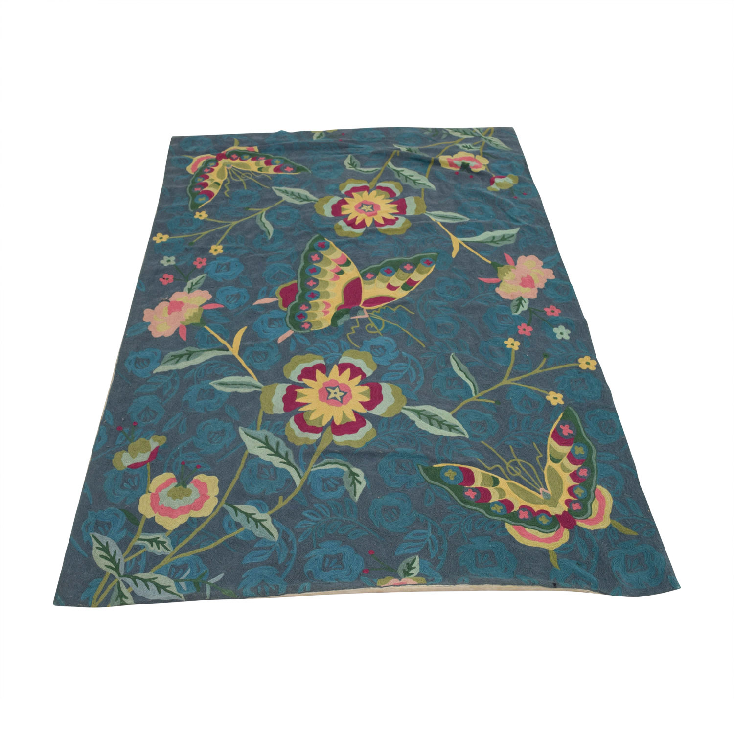 Anthropologie Anthropologie Folkloric Blue Green Floral Rug price