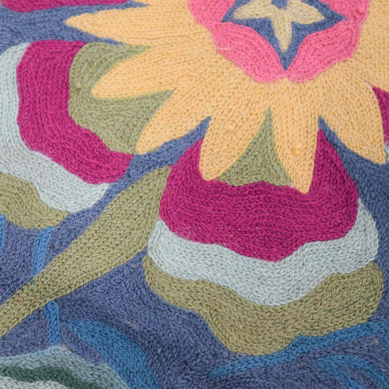 Anthropologie Folkloric Blue Green Floral Rug sale
