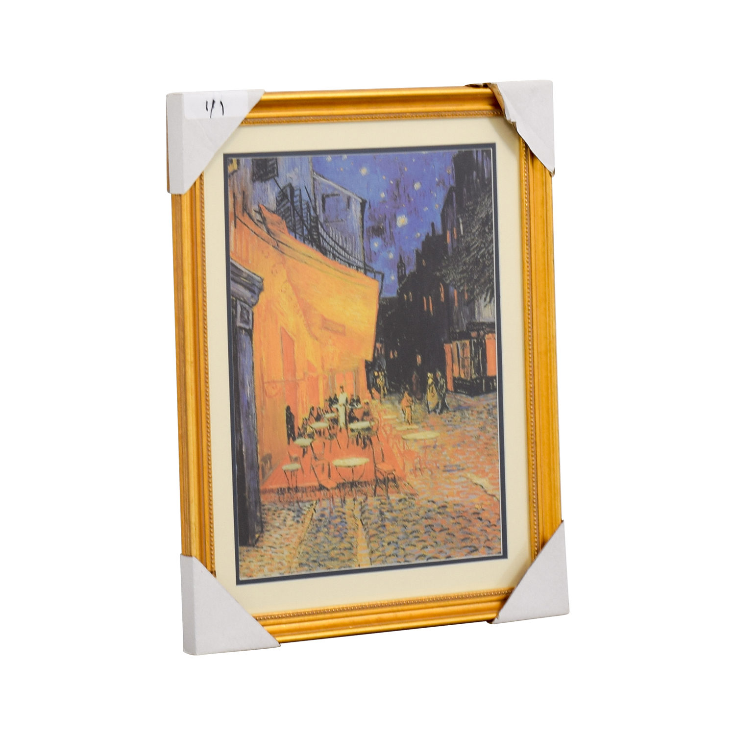 Vincent Van Gogh The Cafe Terrace at Night Print Gold / Multi