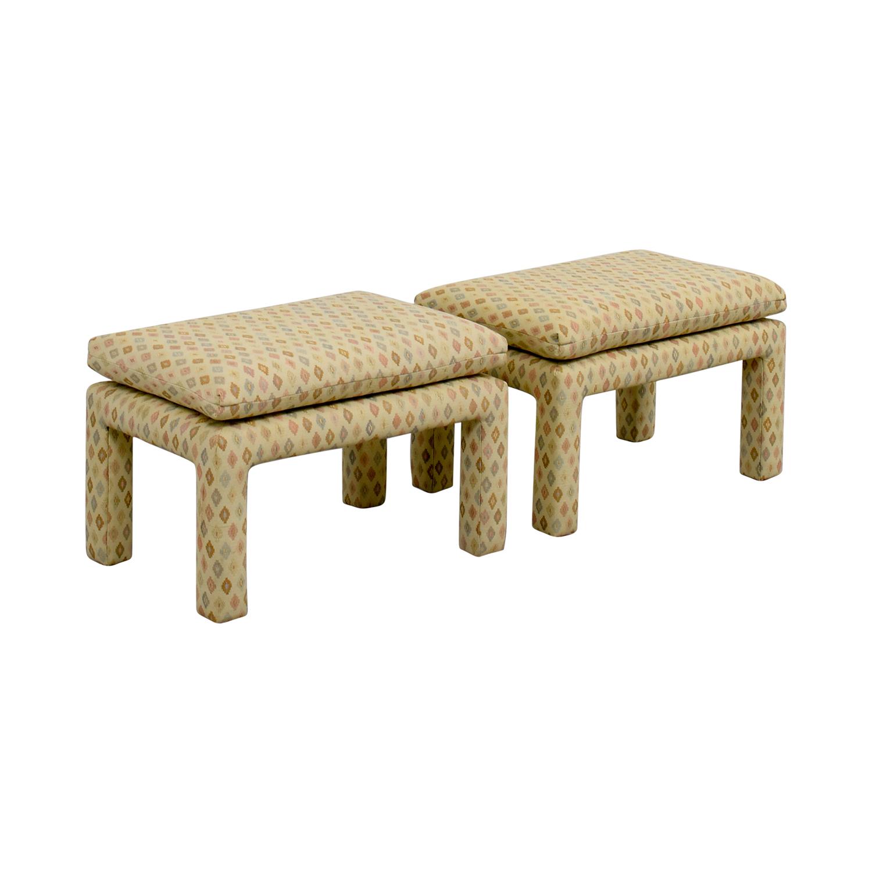 Beige Multi-Colored Upholstered Footstools used