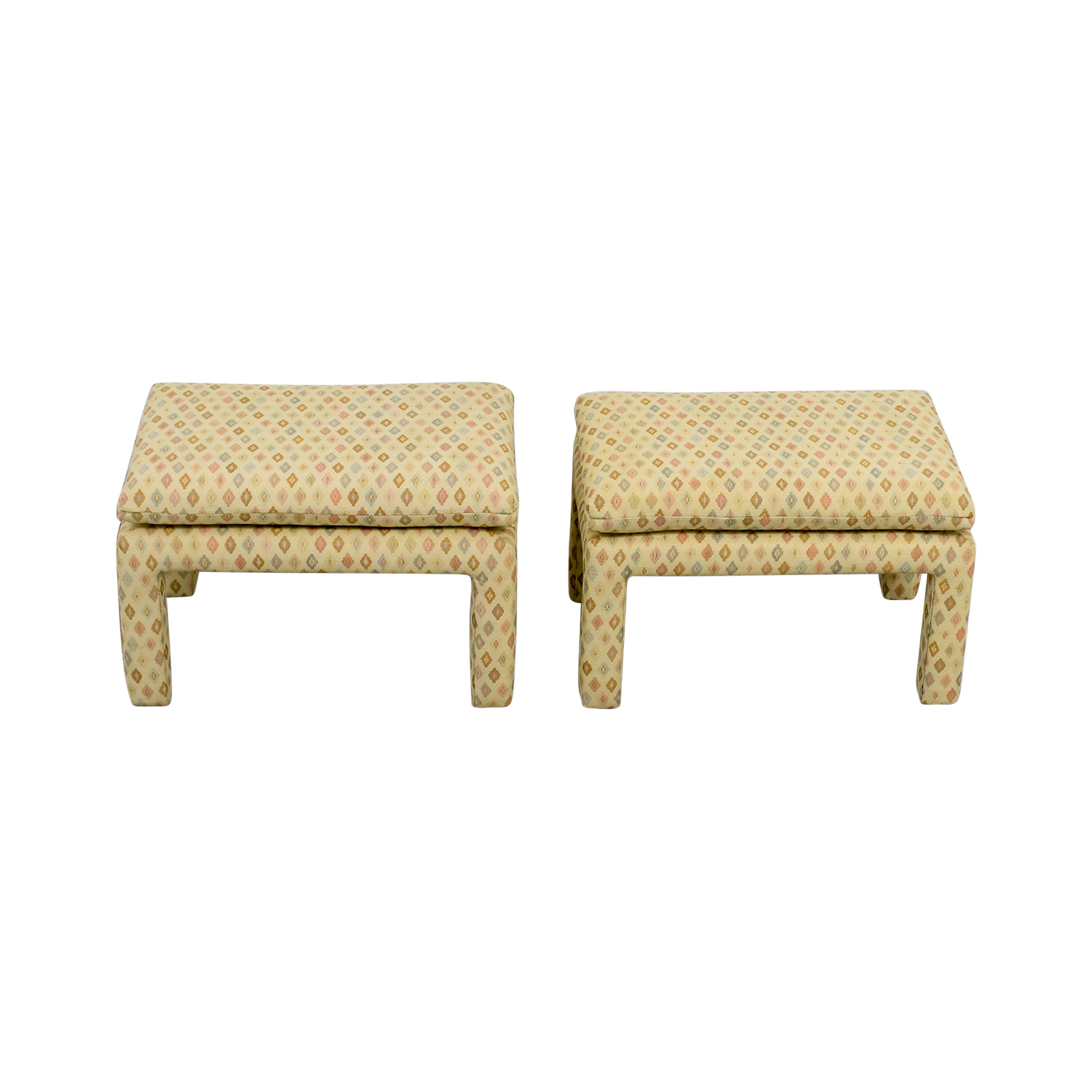 Beige Multi-Colored Upholstered Footstools second hand