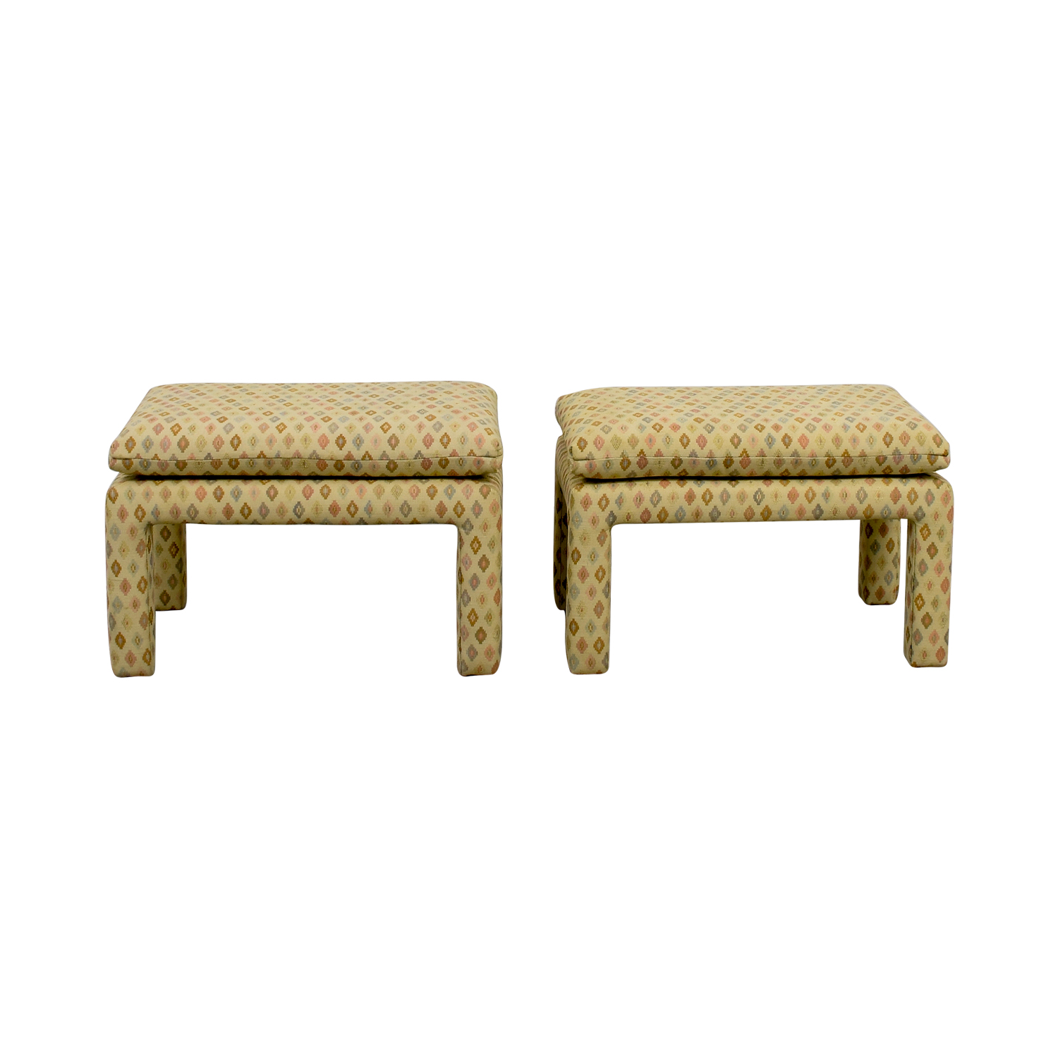 Beige Multi-Colored Upholstered Footstools WHITE