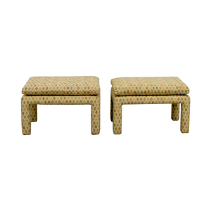 Beige Multi-Colored Upholstered Footstools coupon