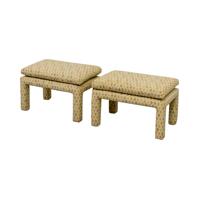 shop Beige Multi-Colored Upholstered Footstools