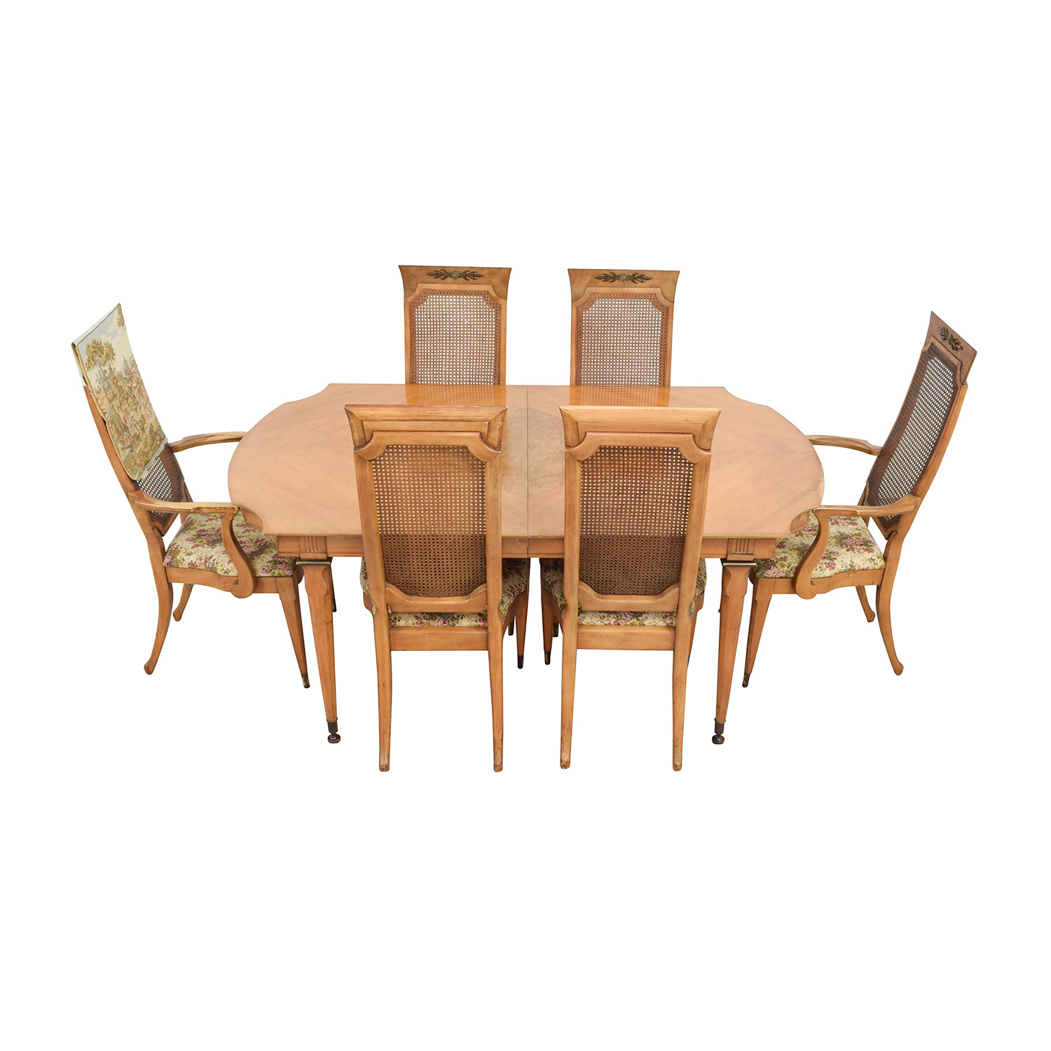 ... Merz 1968 Merz 1968 Wood Dining Set With Floral Upholstered Chairs  Dining Sets ...