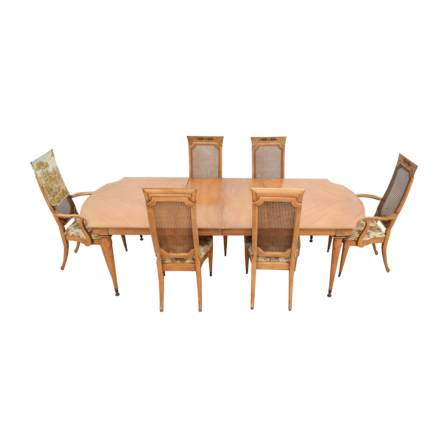 shop Merz 1968 Wood Dining Set with Floral Upholstered Chairs Merz 1968