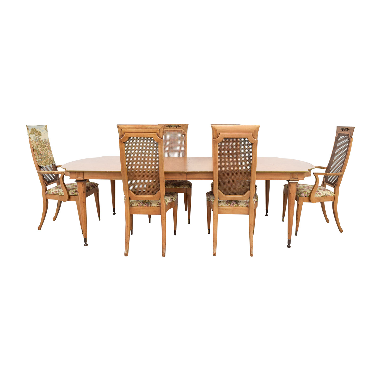 Merz 1968 Wood Dining Set with Floral Upholstered Chairs Merz 1968