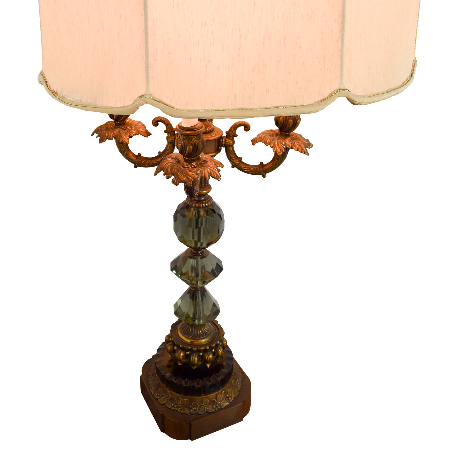 OFF Vintage Mid Century Gold and Crystal Table Lamp Decor