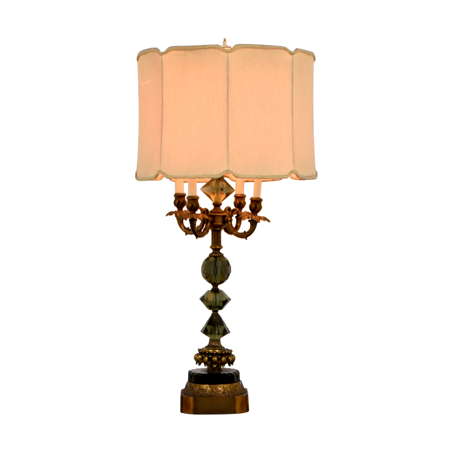 Vintage Mid-Century Gold and Crystal Table Lamp Copper / Glass / Beige