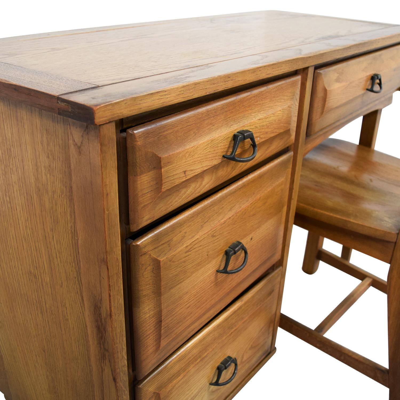 buy Vintage Mid Century Oak Desk with Chair
