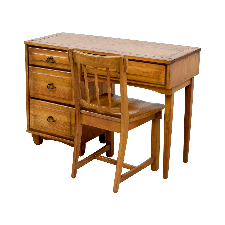 Vintage Mid Century Oak Desk with Chair coupon