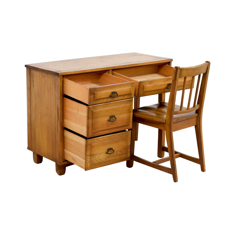 Vintage Mid Century Oak Desk with Chair Home Office Desks
