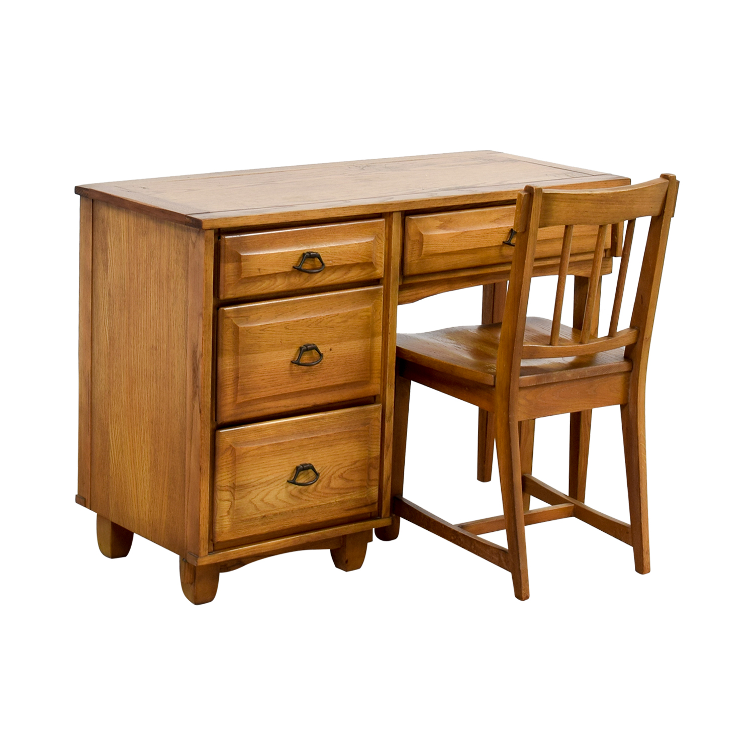 Vintage Mid Century Oak Desk with Chair on sale