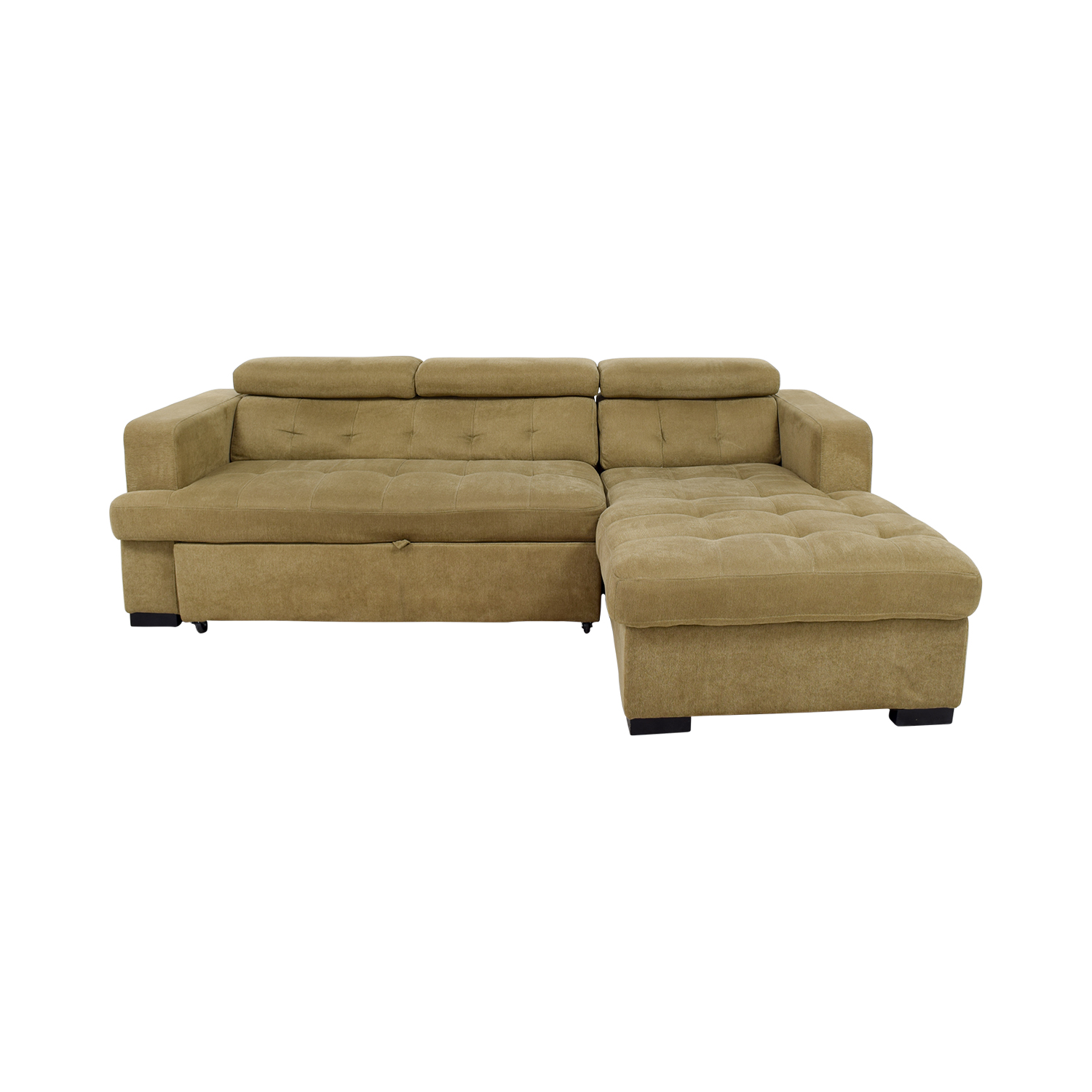 Bobs Furniture Bobs Furniture Gold Chaise Sectional Sleeper Sofa dimensions