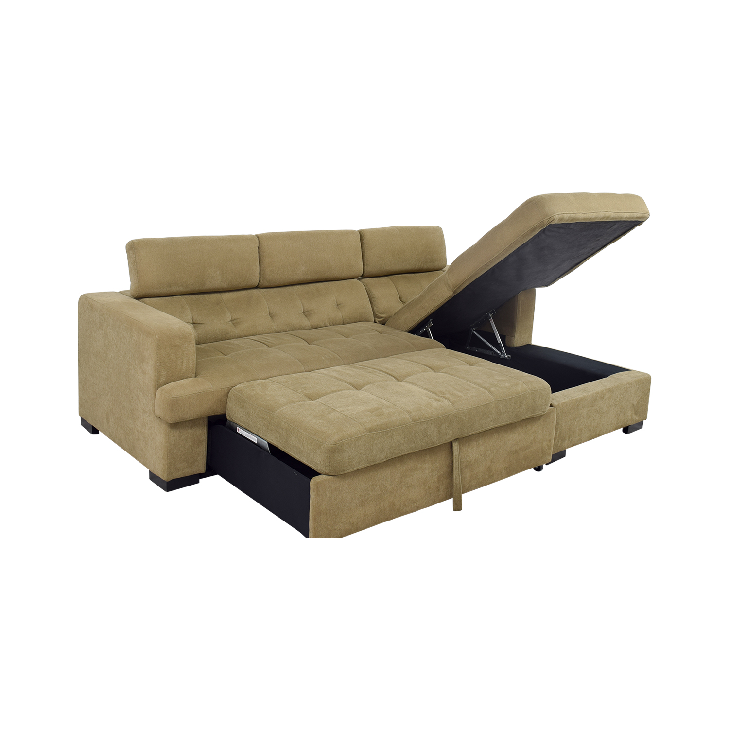 59% OFF - Bob\'s Discount Furniture Bob\'s Furniture Gold Chaise Sectional  Sleeper Sofa / Sofas