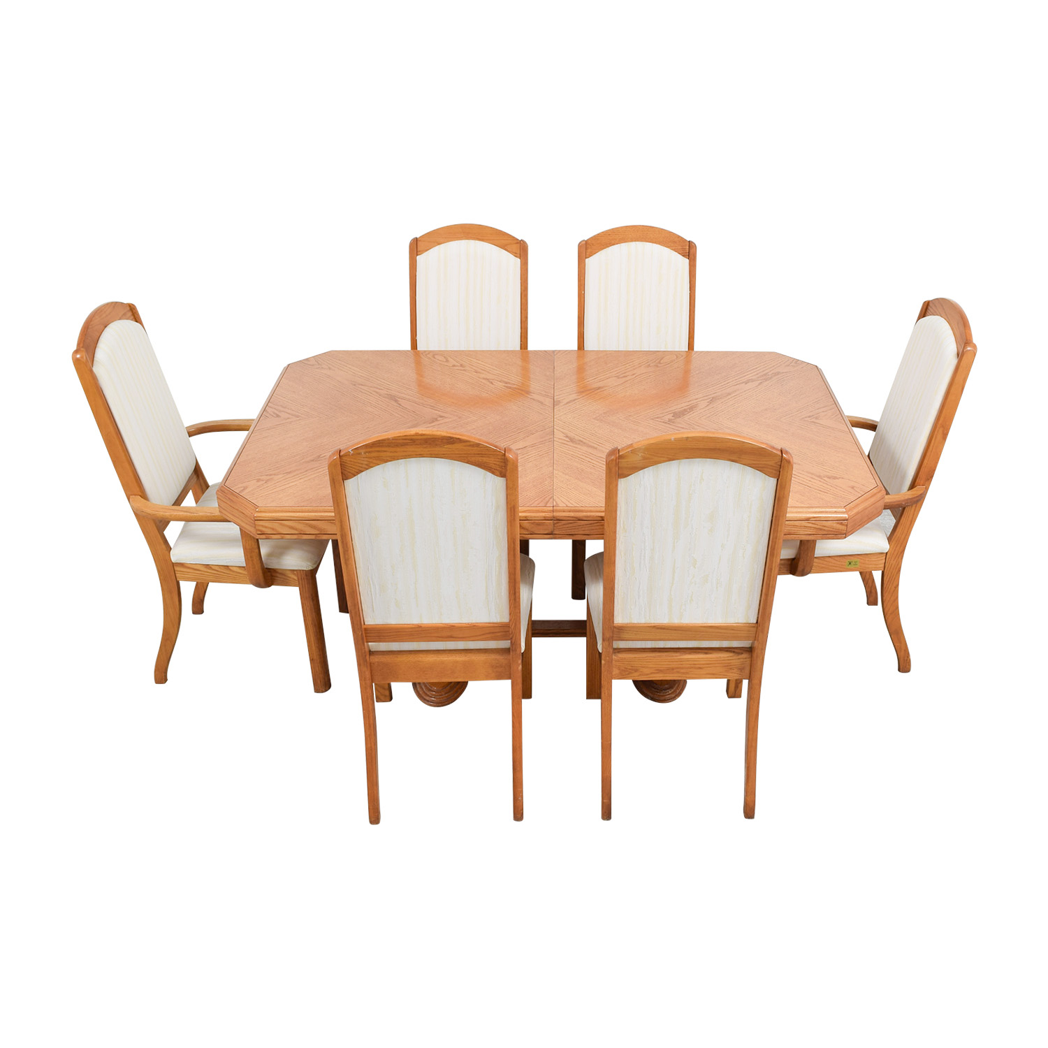 Accese Brothers Wood Dining Table with Upholstered Chairs / Dining Sets