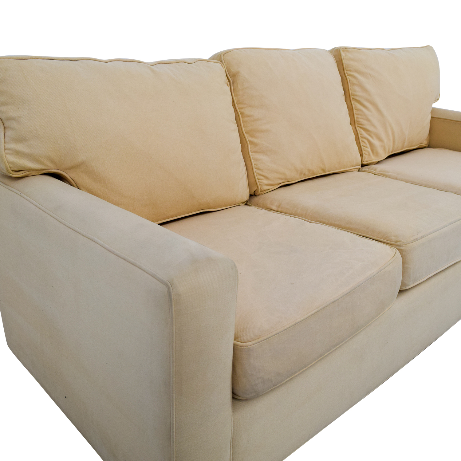 buy Pottery Barn Tan Three-Cushion Sofa Pottery Barn
