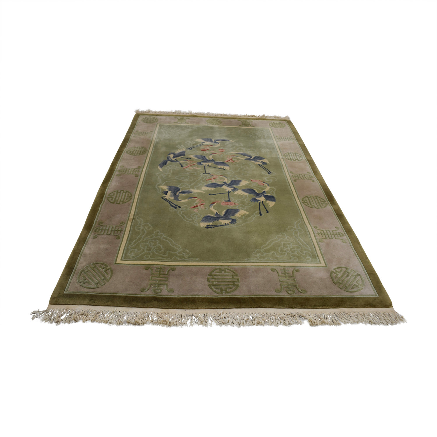 Asian Green Stork Rug Rugs