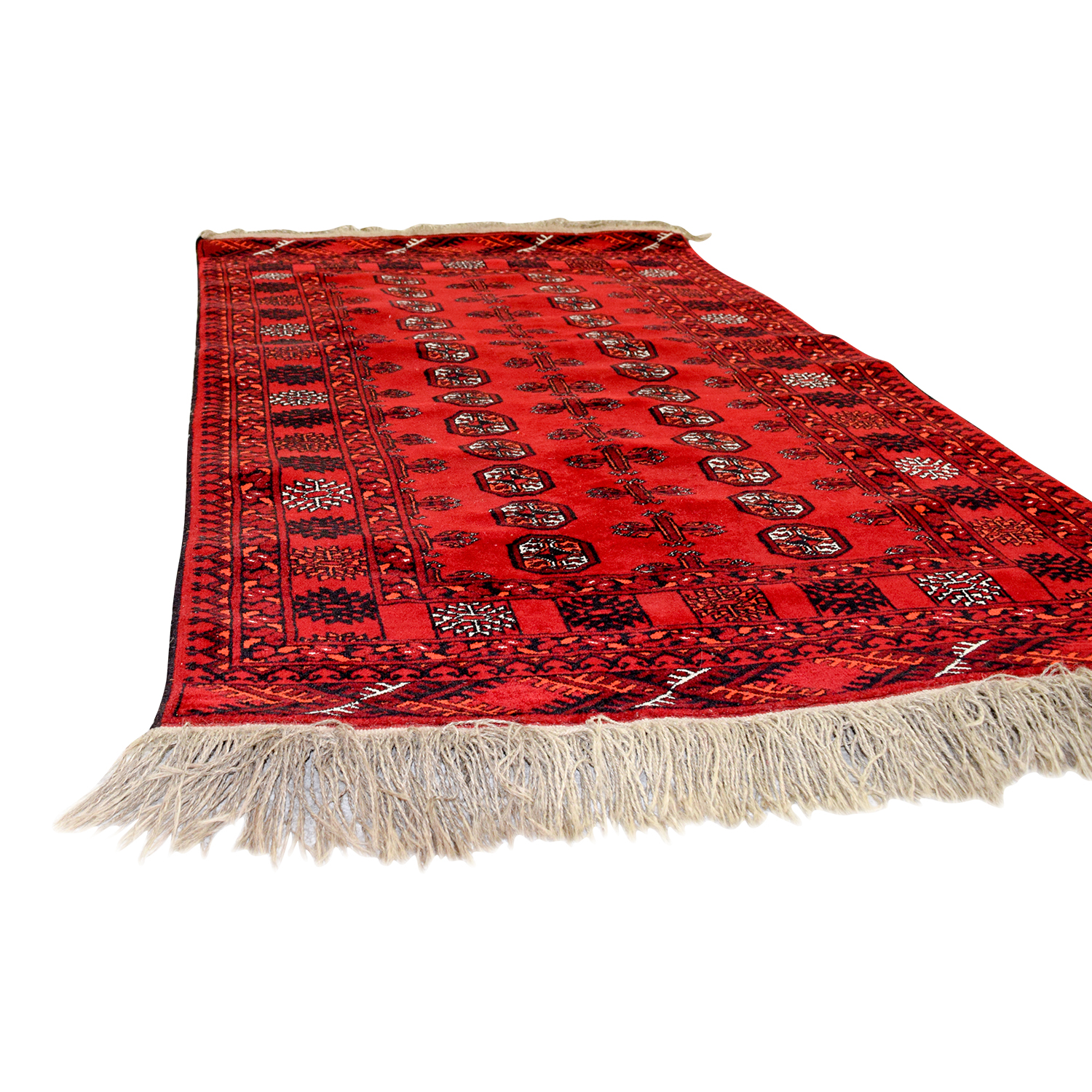 Red Black and White Runner Rug for sale