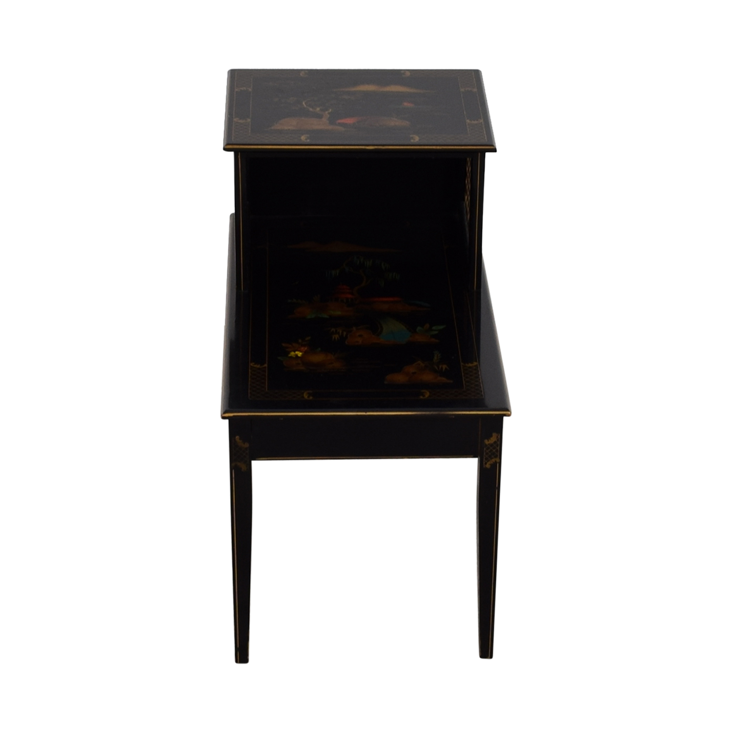Katherine Henick Antique Katherine Henick Painted End Table Black / Gold