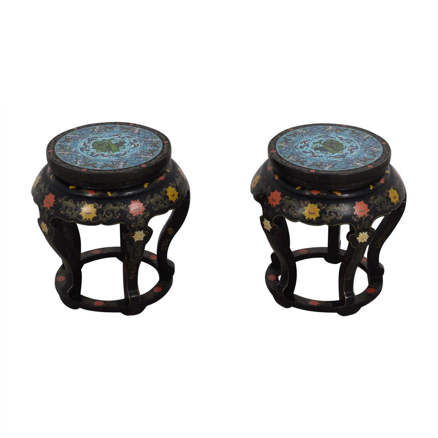 Antique Chinese Round Tables with Cloisonne Top for sale