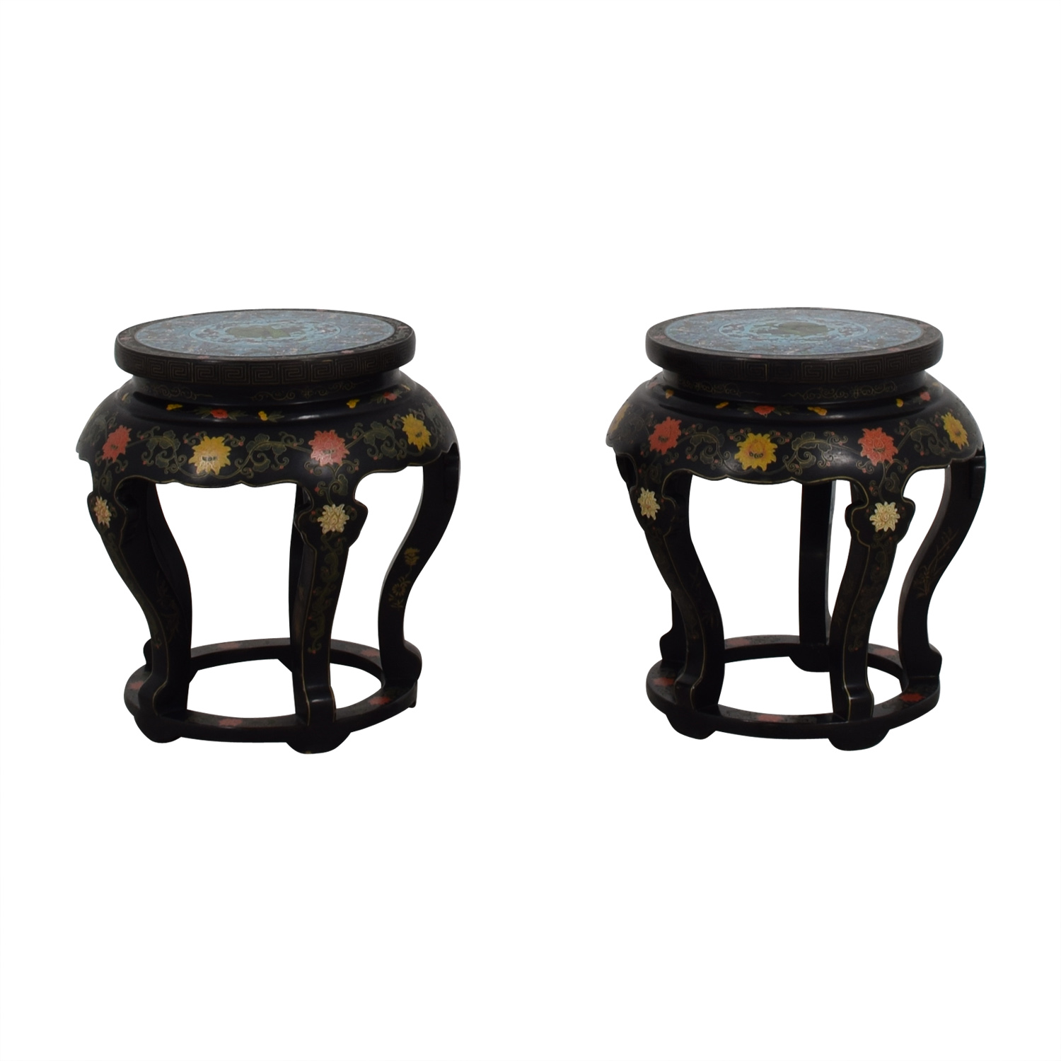 buy Antique Chinese Round Tables with Cloisonne Top End Tables