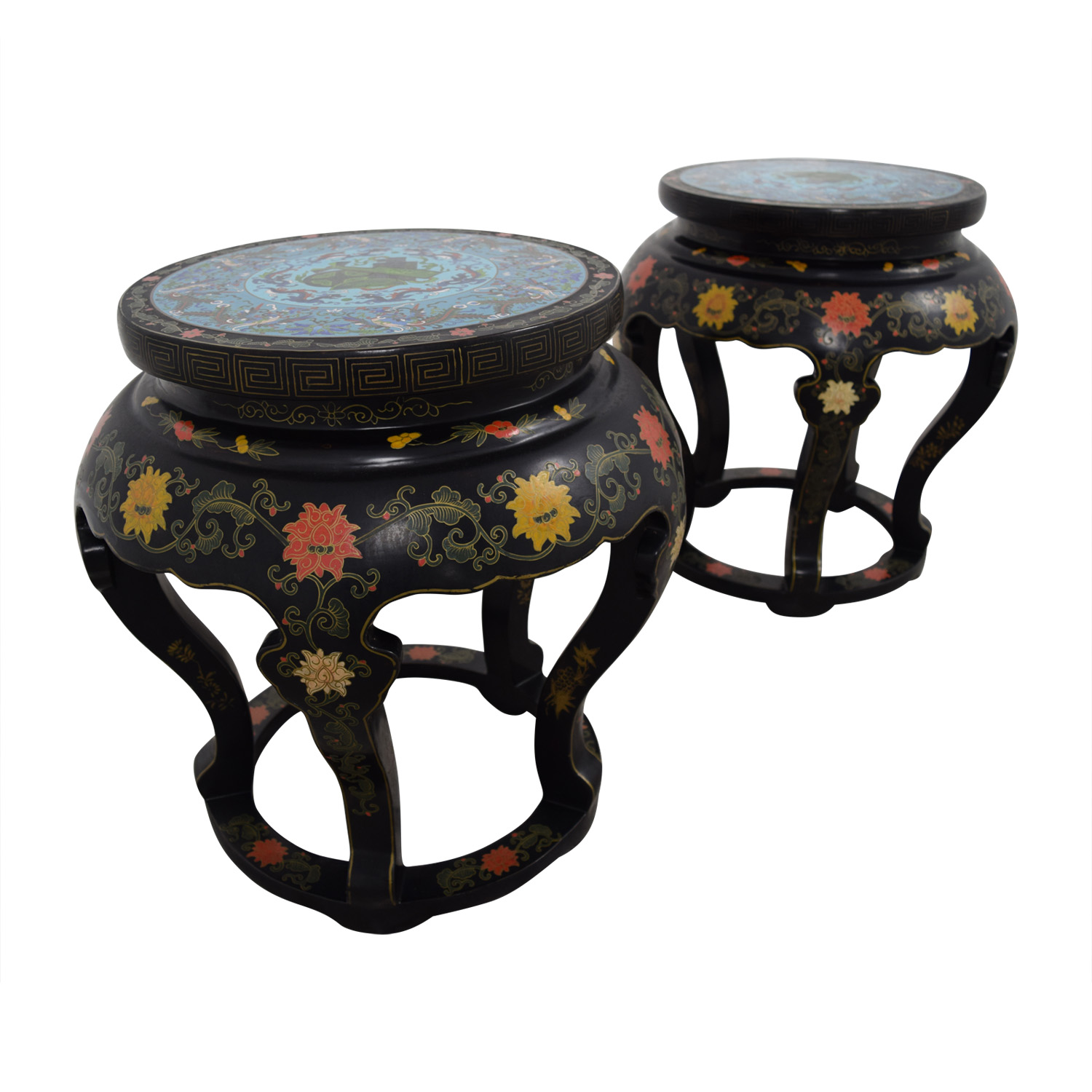 Antique Chinese Round Tables with Cloisonne Top nj