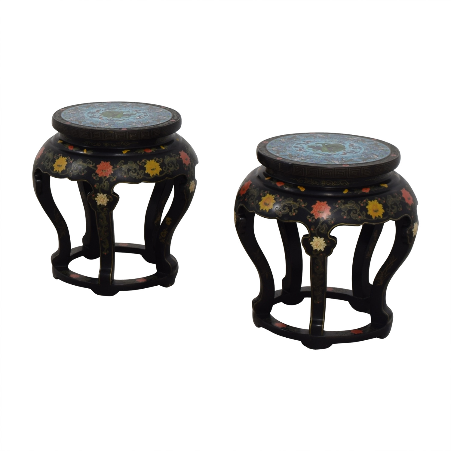 Antique Chinese Round Tables with Cloisonne Top on sale