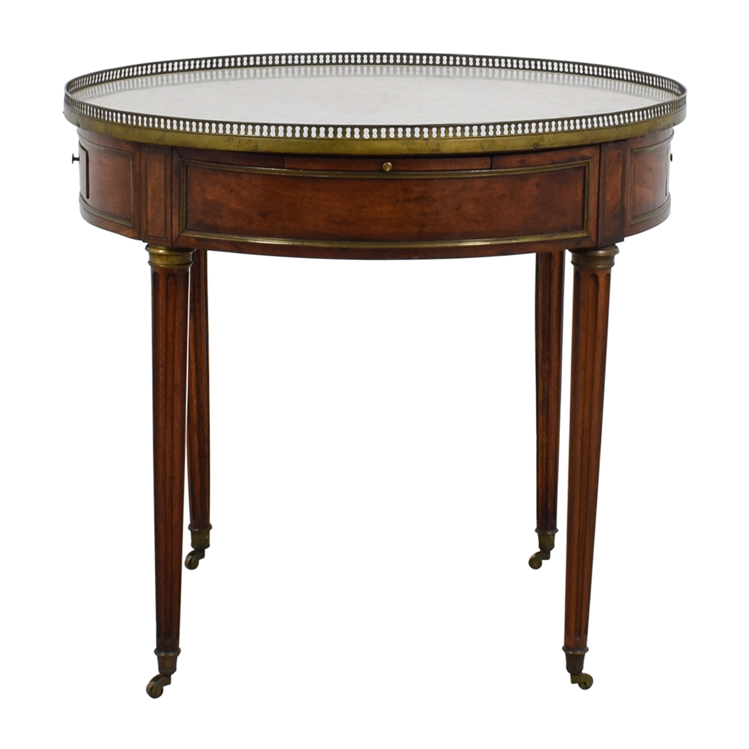 Antique Round Table with Marble Top / Tables