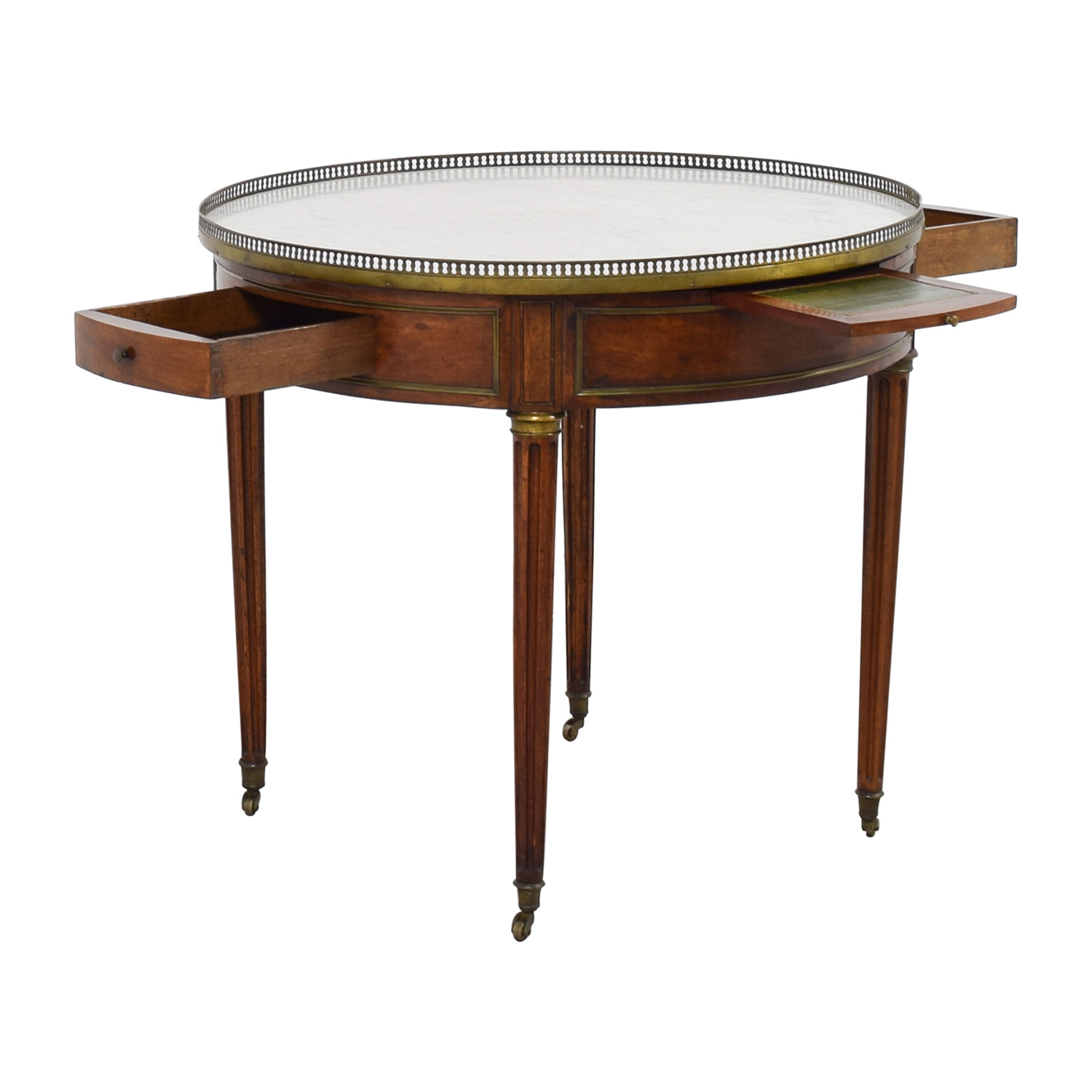 shop Antique Round Table with Marble Top End Tables