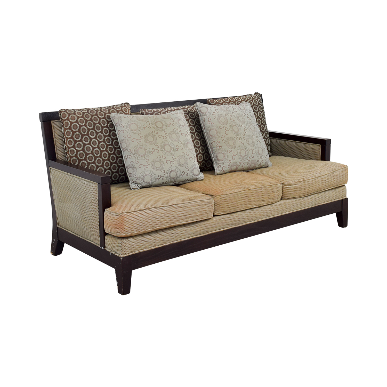 90% OFF - Tan Three-Cushion Couch with Wood Frame / Sofas