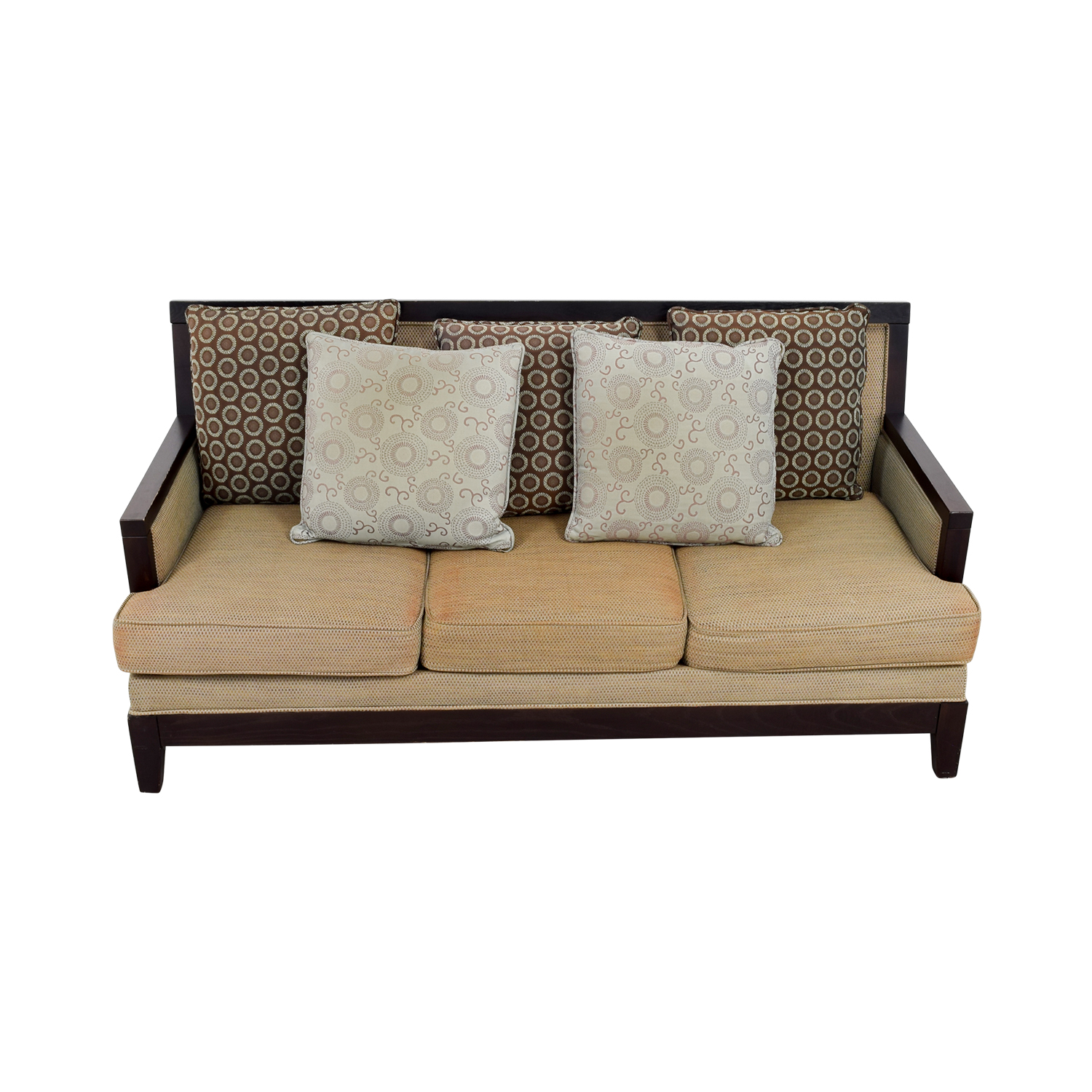 Tan Three-Cushion Couch with Wood Frame TAN