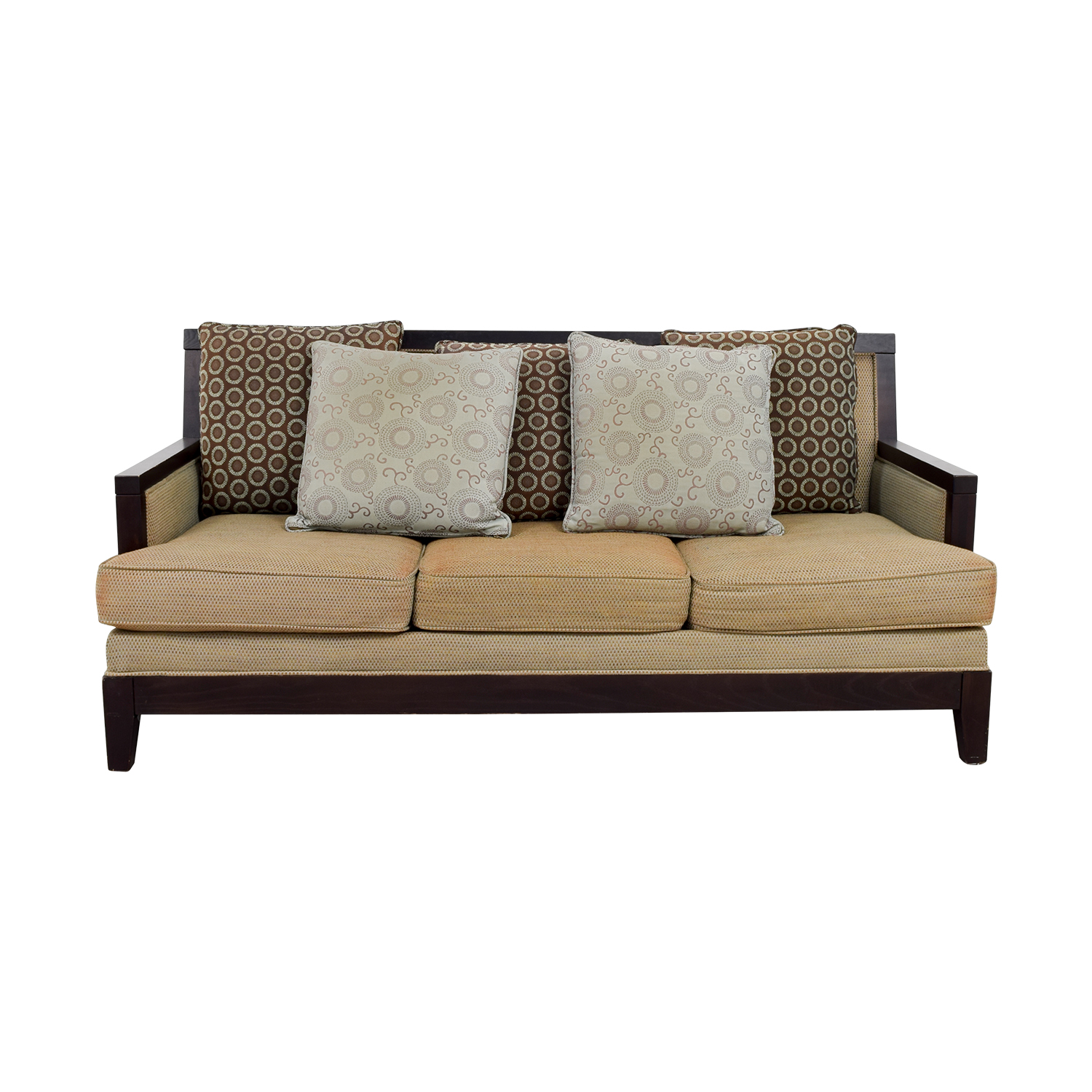 Tan Three-Cushion Couch with Wood Frame coupon