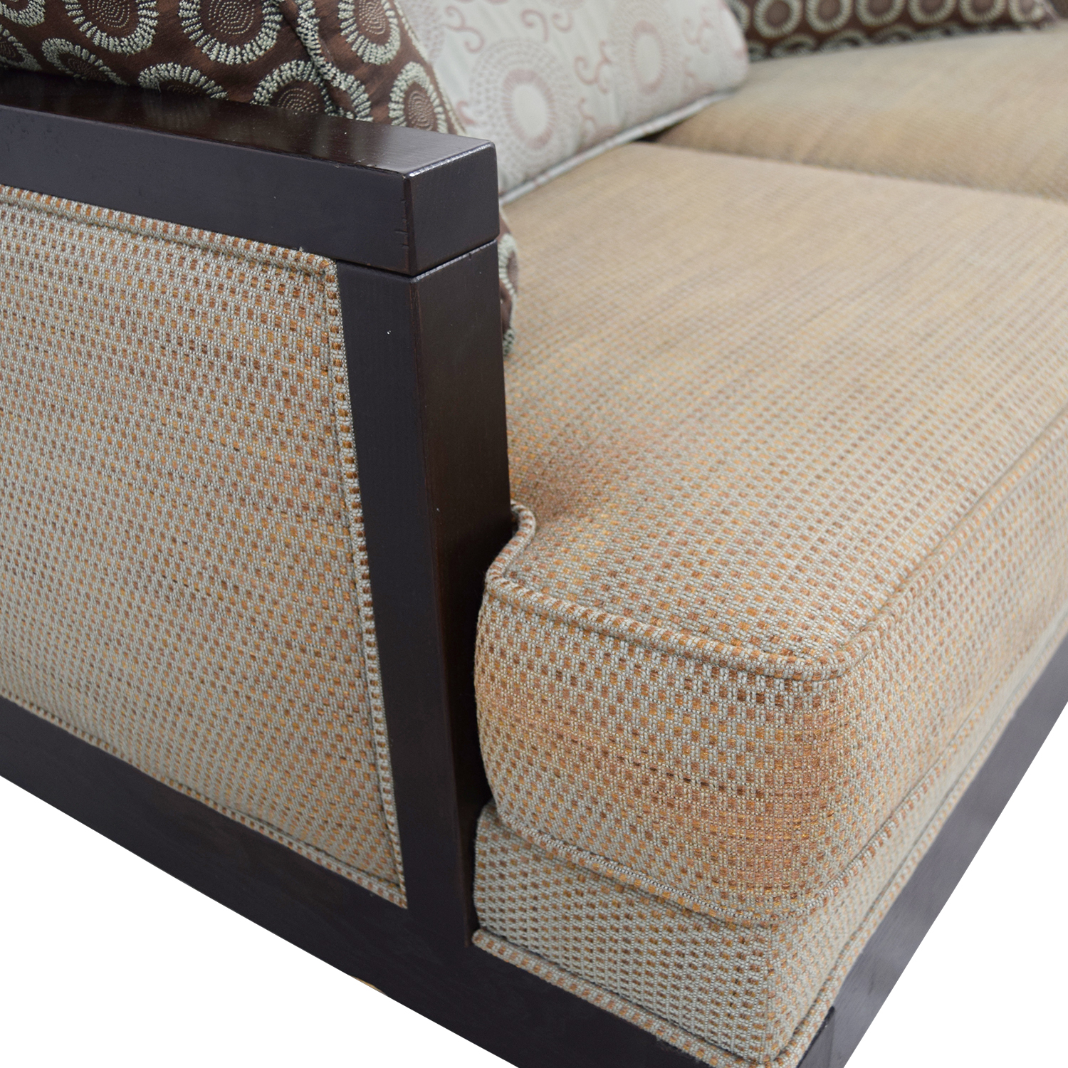 Tan with Wood Frame Love Seat Sofas