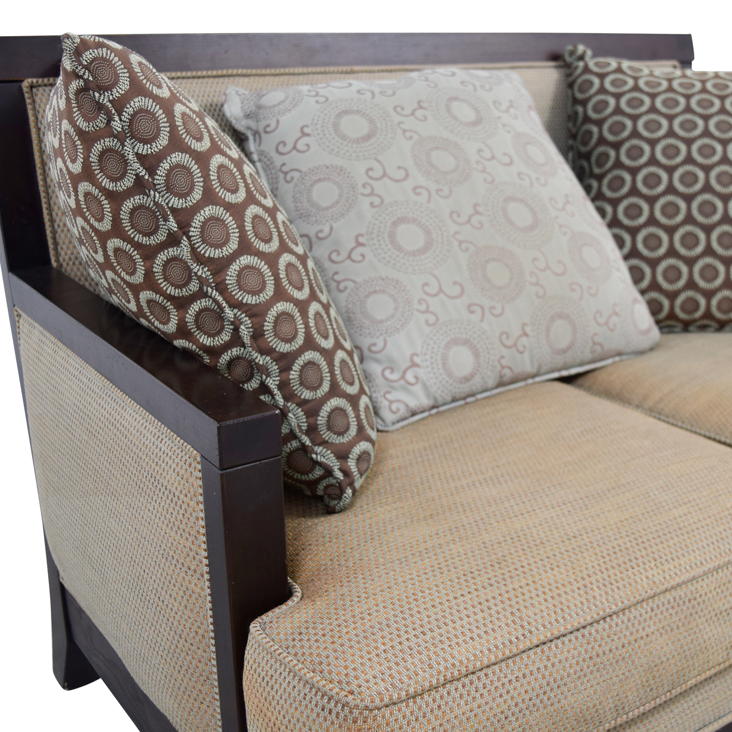 buy Tan with Wood Frame Love Seat Sofas
