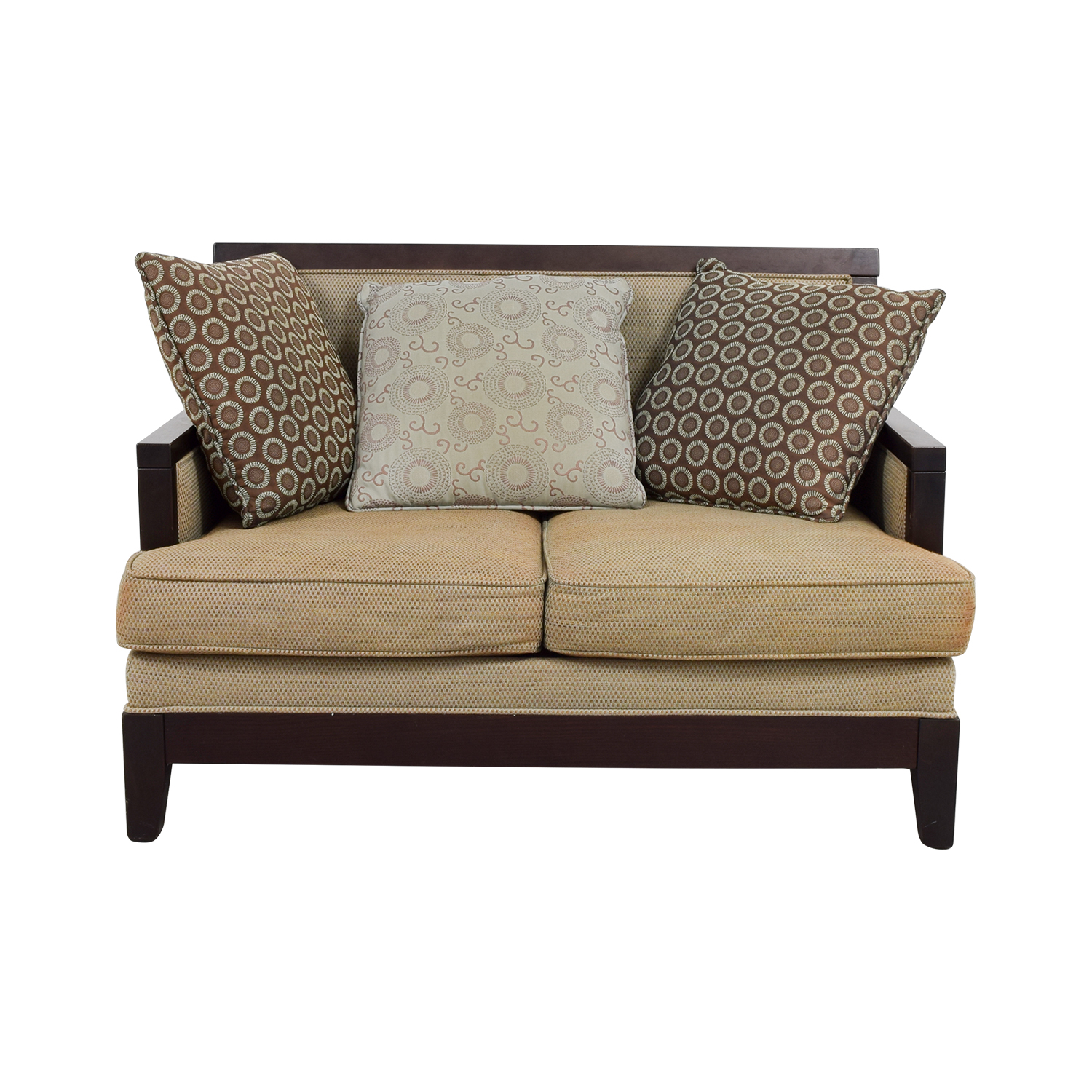 90% OFF - Tan with Wood Frame Love Seat / Sofas