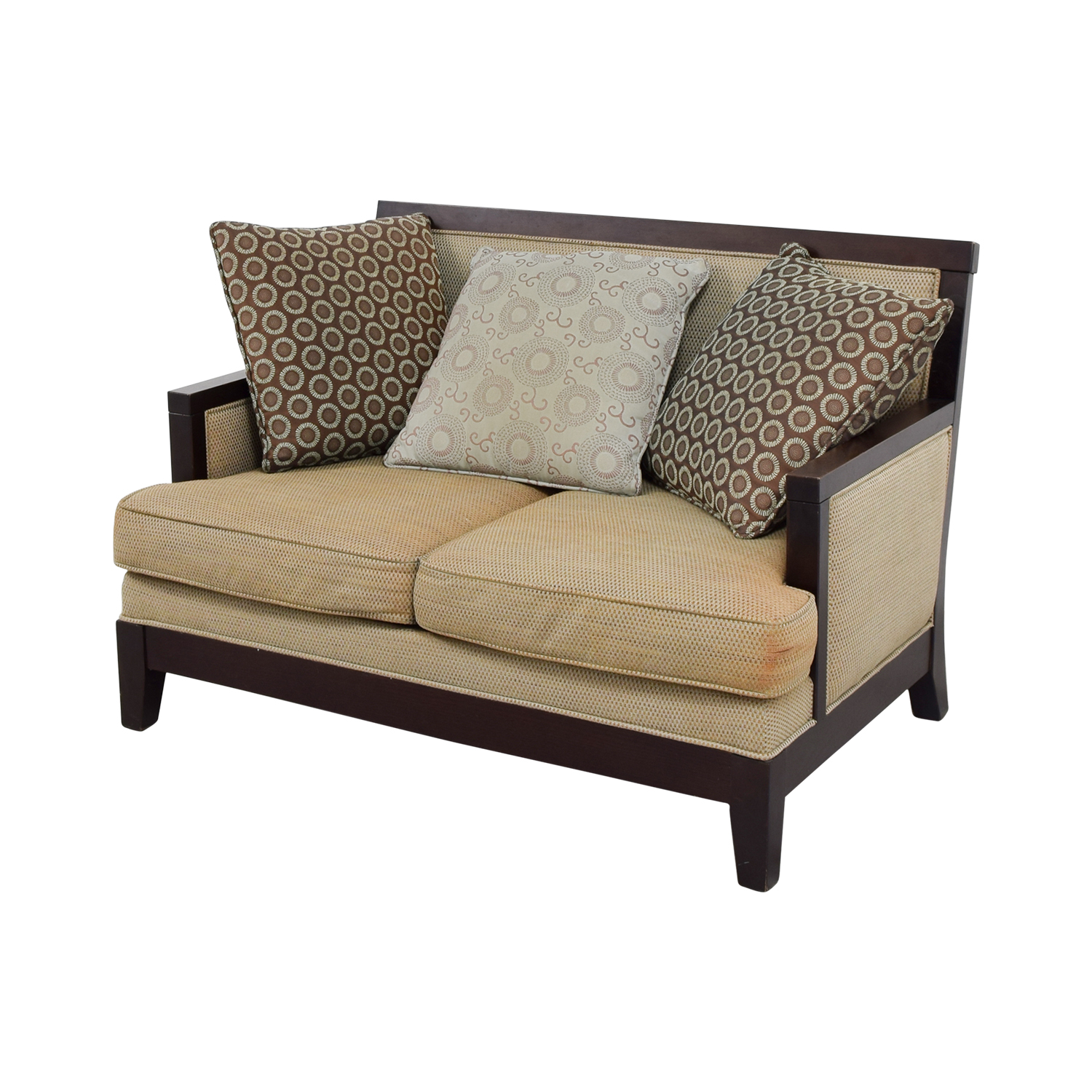 Tan with Wood Frame Love Seat used