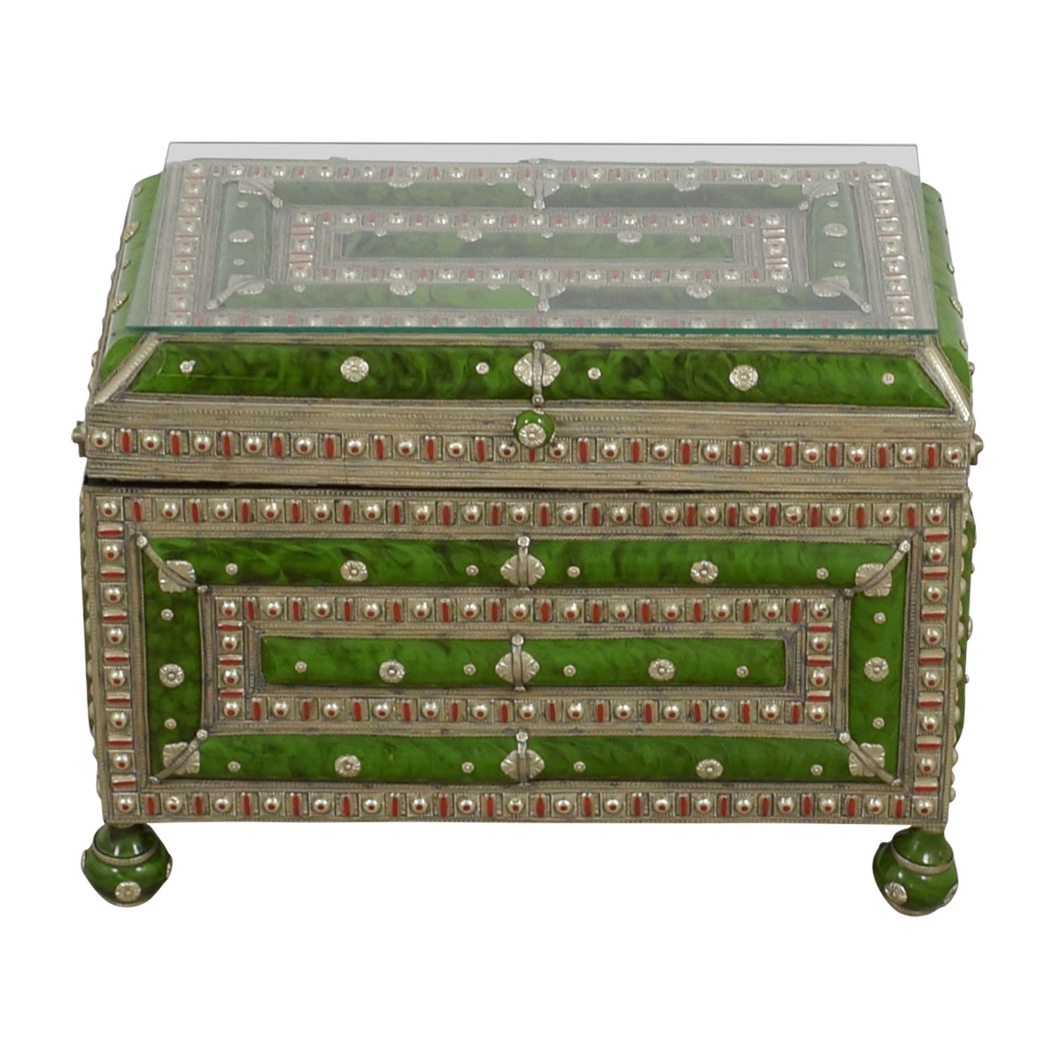 Antique Morroccan Precious Jewel Trunk and Table