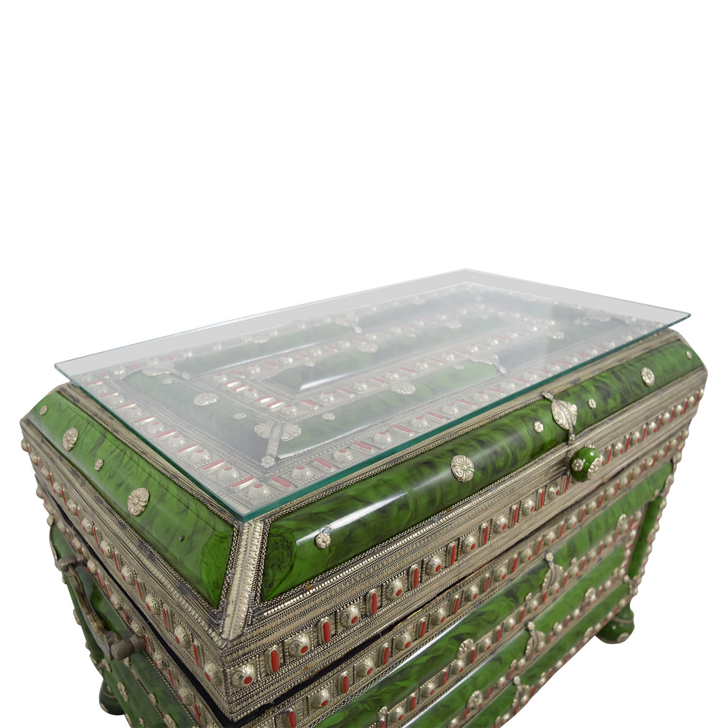 Antique Morroccan Precious Jewel Trunk and Table nyc