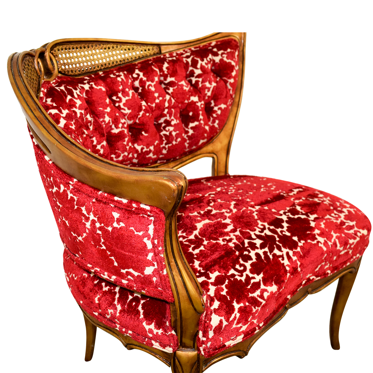 Red and Gold Upholstered Wave Back Chair Sofas