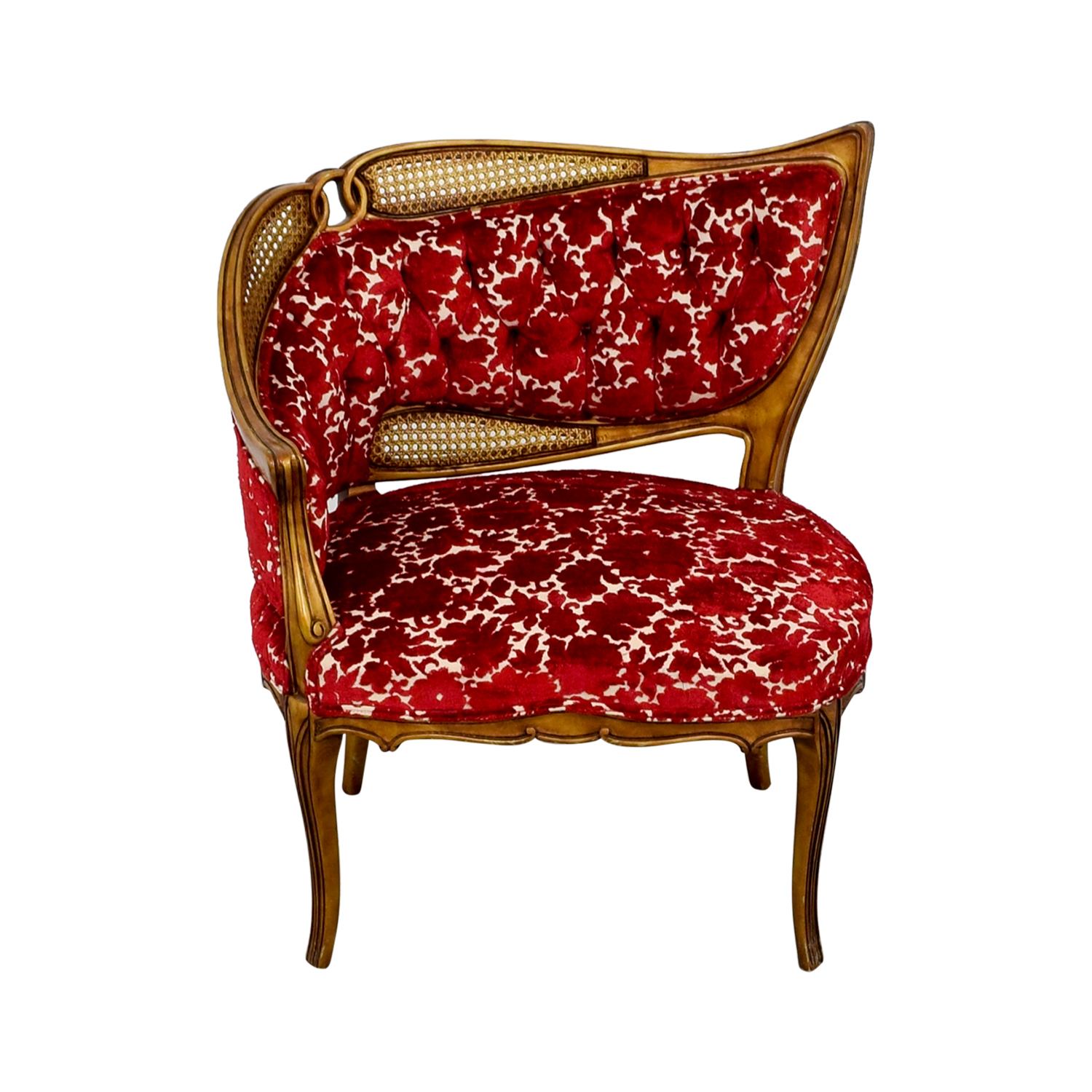 Red and Gold Upholstered Wave Back Chair used