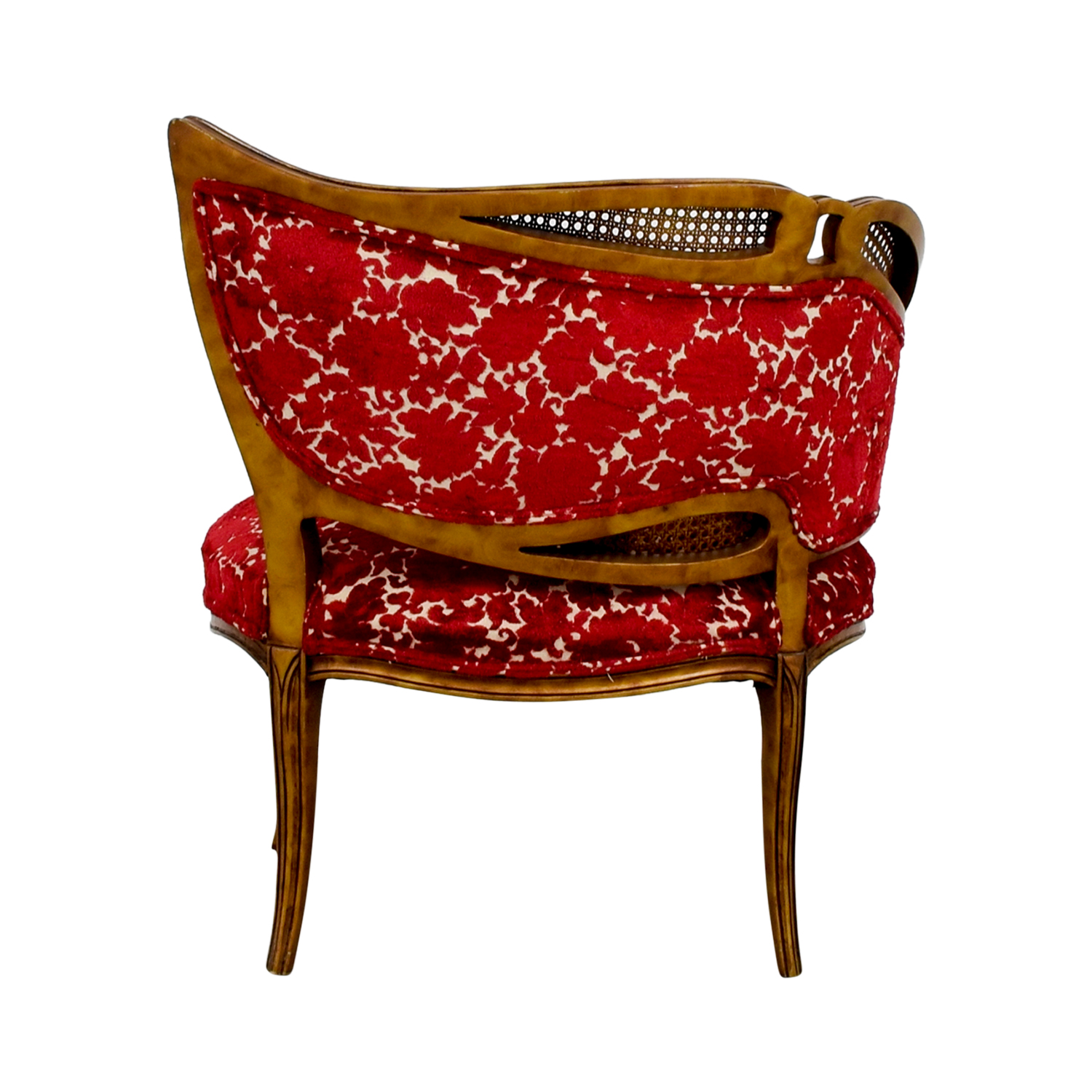 Red and Gold Upholstered Wave Back Chair discount