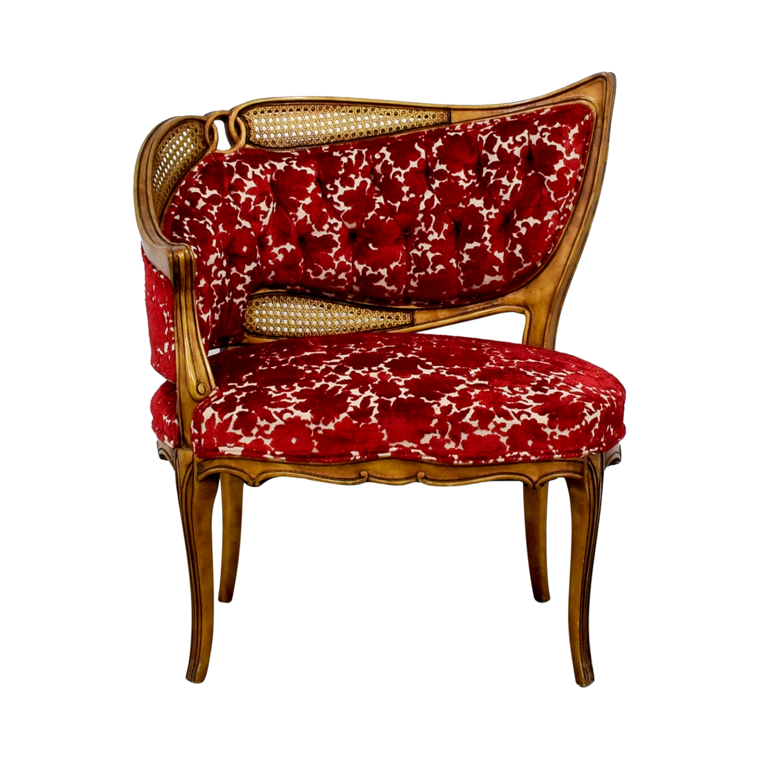 Red and Gold Upholstered Wave Back Chair nyc