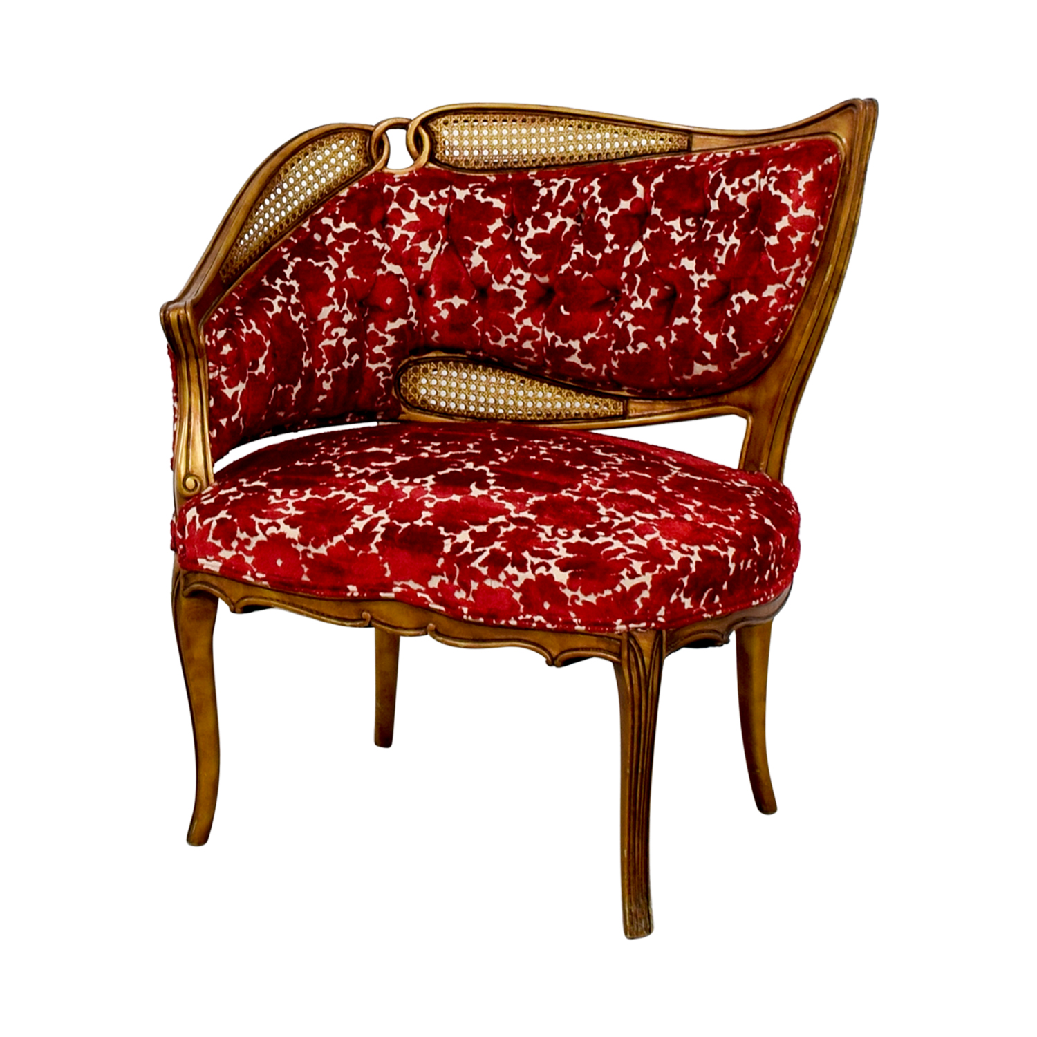 Red and Gold Upholstered Wave Back Chair dimensions