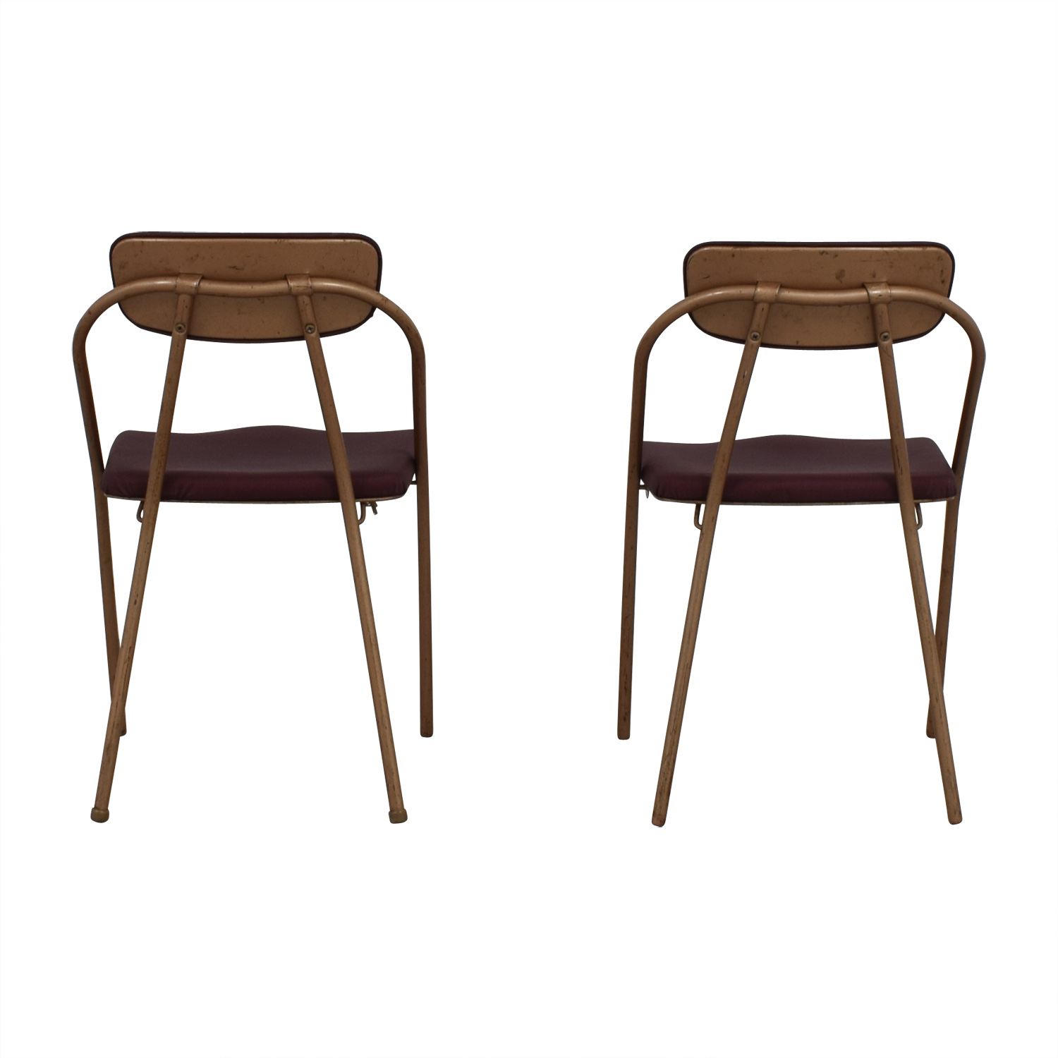 1960s Purple Folding Metal Chairs Dining Chairs